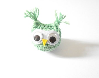 Amigurumi OWL pale mint crochet Bag charm Phone charm 100% Cotton Yarn