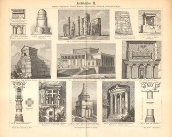 1893 Architecture of the Ancient Assyria, Babylon, Persia, Anatolia and Phoenicia Antique Engraving to Frame