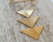 Triple Triangle Brass Necklace