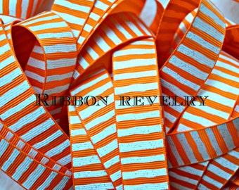 "NEW-White glitter wonky stripes on tangerine orange 7/8"" grosgrain ribbon- NEW"