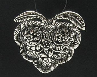 PE000067 Sterling silver pendant  925 Heart Flower Rose