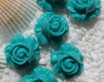 Resin Rose Swirl Cabochon - 16mm - 12 pcs - Teal