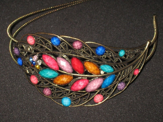 Multi-Colored Leaf Glass Headband