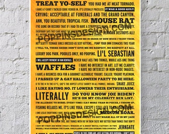 11X17 Parks and Recreation Quotes Poster