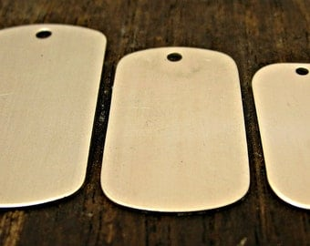 Sterling Silver Dog Tag - Metal Blanks - Engravable Tag - Hand Stamped Jewelry - Jewelry Supplies - Jewelry Making - Mens Necklace - Army