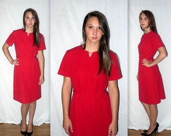 Melody .. vintage 60s day dress / 1960s space age / minimalist waitress / mad men office secretary / indie midi ... M L bust 38