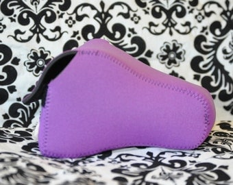 DSLR Camera Case - Bright Purple / Black Neoprene with black stitching.