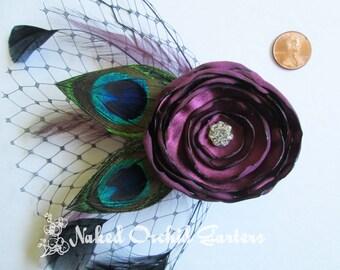 Peacock Wedding Fascinator, Burgundy / Marsala / Sangria Wedding Hair Flower Accessory, Rose Bridal Head Piece, Black French Veil