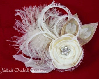 Peacock Wedding Hair Clip, Ivory Bridal Feather Fascinator, Ivory Bridal Flower, Wedding Rose Headpiece, Birdcage Veil
