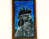 Chicken Painting on Reclaimed Wood Block Mississippi Folk Art