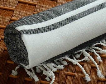 Personalized Turkish Towel - Karia Peshtemal - HandWoven - Monogramed Embroidered - Black - Spa Sauna Yoga Wedding Bachelorette Party Beach
