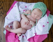 Newborn Photography Layering Set, Crochet Prop Bonnet Mint Green, Fuschia Pink, Newborn Size (Item 880) - ThatsTheCutestThing