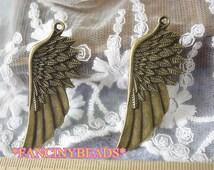 Hot Sale-10 pcs angel wing steampunk pendants- big one-F10