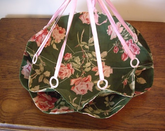 Sale - Vintage Bun Holder //  Bun Holder // Roll // Barkcloth Fabric with Pink Satin Ribbon  // Shabby Chic