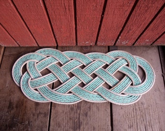 31 x 12 Rope Rug Doormat  Nautical Knotted Mat Made from Alaskan Fishing Line Re-purposed