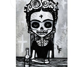 Fancy Frida Kahlo Drinking Tequila 5x7 art print by Lupe Flores