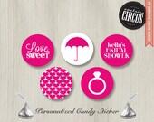 216 Custom Kiss Candy Stickers - Bridal Shower Set  - DIY Wedding