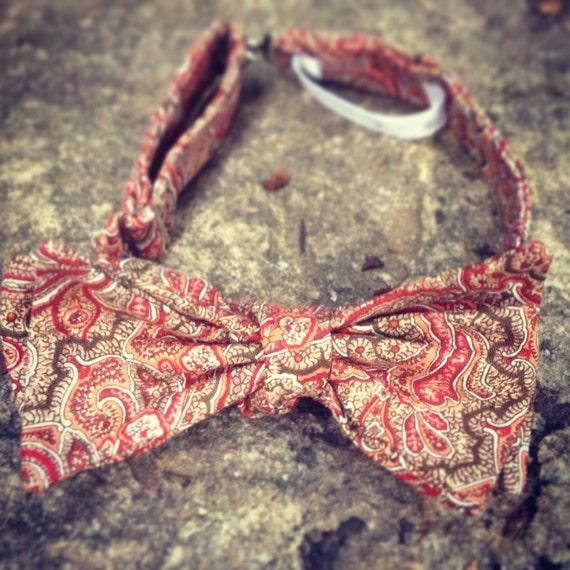 Burnt Umber Paisley Bow Tie - Adjustable - Gift Box