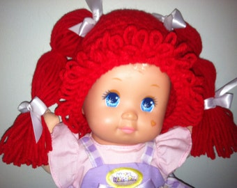 Cabbage Patch Kid Style Crocheted Red Wig Hat Halloween Costume for Baby Girls Size Newborn to 12 Months