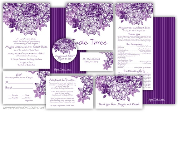 Items Similar To Purple DIY Printable Wedding Programs Printable Purple Wedding Invitations