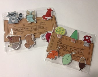 Woodland or Forest Friends Mini Clips