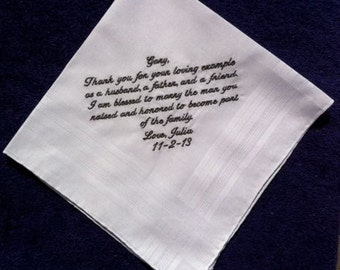 Groom's Father Handkerchief from Bride with Wedding date White