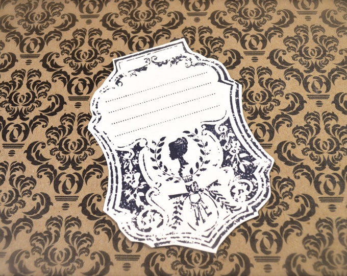 Vintage Silhouette Gift Tags, Hand Stamped Favor Tags, Romantic Look  4 Tags