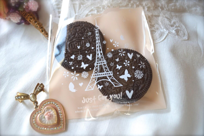 Eiffel tower cello bag cookie bags treat favor wedding for Cookie bags for wedding