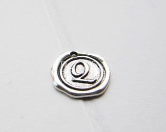 12pcs / Wax Seal Letter / Oxidized Silver Tone / Base Metal / Charm / Alphabet Q (Y15706//E321)