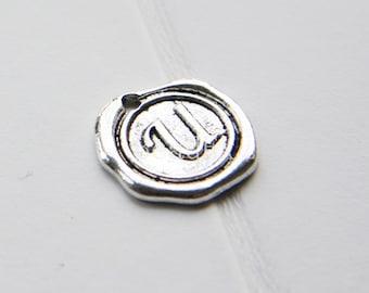 12pcs / Wax Seal Letter / Oxidized Silver Tone / Base Metal / Charm / Alphabet U (YA15706//E329)