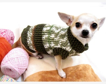 Knit Chihuahua Sweater Extra Small Dog Clothes Cotton Puppy Clothing Unique Green Olive Cat Yorkie Kitten DK866 Myknitt - Free Shipping