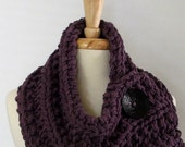 Made to Order - Chunky Knit Dusty Purple Cowl Scarf with Large Black Button
