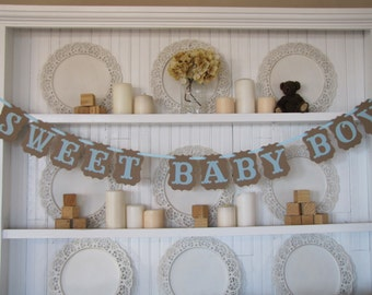 SWEET BABY BOY  Banner, Baby Boy Shower Decoration, It's a Boy Sign, Baby Boy Decoration, Baby Boy Banner