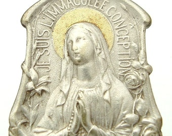 "Vintage Virgin Mary of Lourdes Art Nouveau Medal on 18"" sterling silver rolo chain"