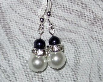 Brides Swarovski White Pearl Earrings with Deep Purple Swarovski pearls