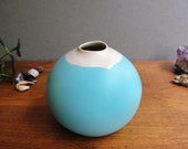 Small Round  Blue and White Bud Vase