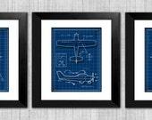 Nursery Wall Art - Airplane Blueprints - Take Flight - Baby Boy or Kids Room - Set of 3 8x10 Prints