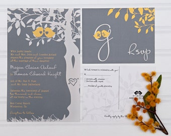 Yellow and Gray Wedding Invitations, Love Birds in a Tree Custom Invites, Budget Bride
