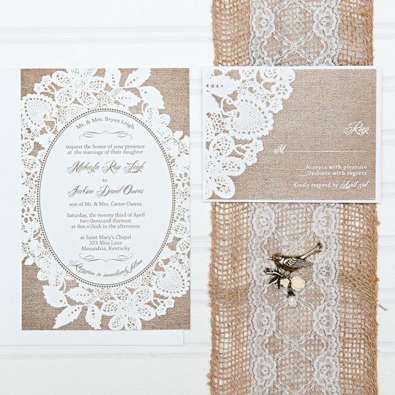 Cheap Wedding Invitation Sets: Burlap And Lace Wedding Invitation Set With RSVP Cards And