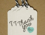 15 Recycled Thank You Heart Name - You Pick the Color Twine Wedding Favor Tags on White - ECO FRIENDLY- Medium