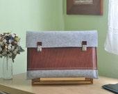 13 inch MacBook Air case, Macbook Pro Air 13 Case, 13 Macbook Bag, Macbook Air Case, MacBook case - Light grey felt & brown leather