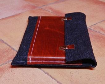 11 inch MacBook case / Macbook Pro 11 Air Case / 11 Macbook Air Bag / Macbook Pro Air - Anthracite felt & dark brown leather