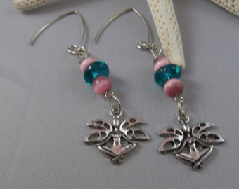 Pink and Blue Glass Bead and Silver Yoga Fairy Dangle Earrings
