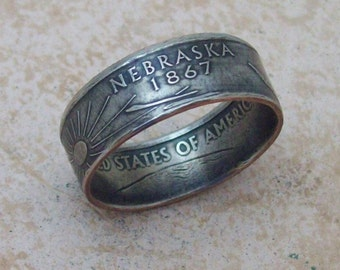 Made To Order Copper Nickle Handmade Jewelry Nebraska State Quarter Ring Christmas Gift or Stocking Stuffer You Pick the Size 5-10