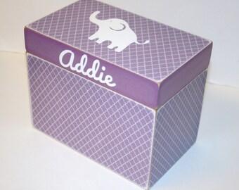 Baby Shower Card Box, Purple Elephant Box, 4x6 Recipe Box, Handmade 4 x 6 Wooden Baby Card Box, Elephant Keepsake Box, Purple Room Decor