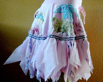 Rose quartz pink mini skirt whimsical pixie hem dainty lace flower patches upcycled shabby cottage women or girls medium to large