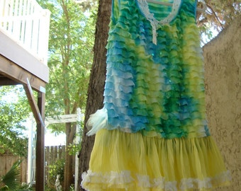 Tropical tank dress large beach resort yellow green blue repurposed sari beading