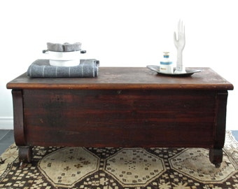 Reserved Vintage Wood Cedar Chest With Hinged Top Trunk Coffee Table Wood Bench