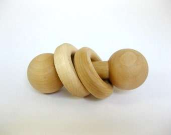 Wooden Ring Rattle, wood baby toy