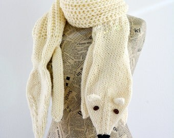 Hand knit long fox scarf in off white with polymer clay buttons